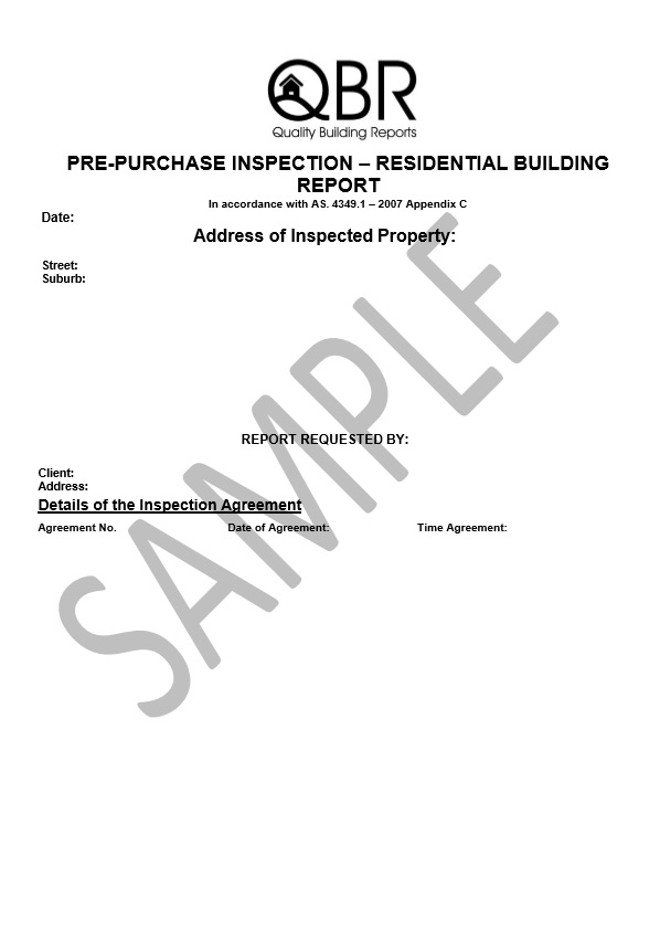 Sample pre-purchase inspection report