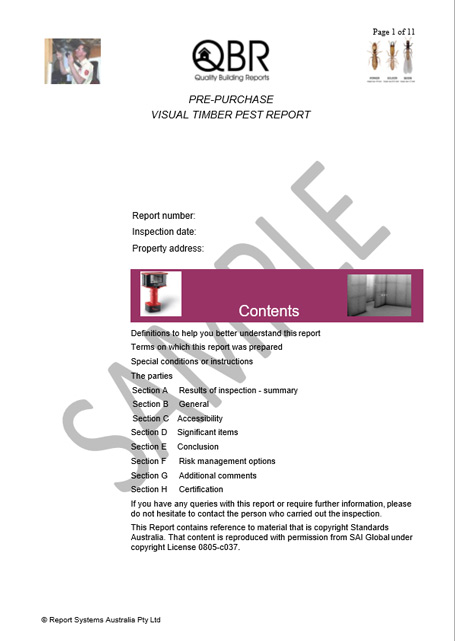 Sample pest inspection report